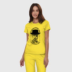 Пижама хлопковая женская Хайзенберг цвета желтый — фото 2