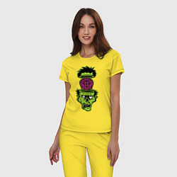 Пижама хлопковая женская Зомби на прицеле цвета желтый — фото 2