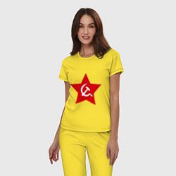 Пижама хлопковая женская Звезда с серпом и молотом цвета желтый — фото 2