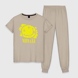 Пижама хлопковая женская Nirvana Smile цвета миндальный — фото 1