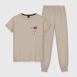 Пижама хлопковая женская Мишка Тедди цвета миндальный — фото 1