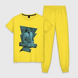 Пижама хлопковая женская Мистер Среда Американские Боги цвета желтый — фото 1