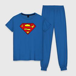Пижама хлопковая женская Superman 8 bit цвета синий — фото 1