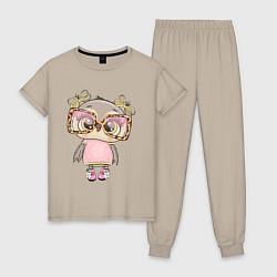 Пижама хлопковая женская Модная малышка совушка цвета миндальный — фото 1