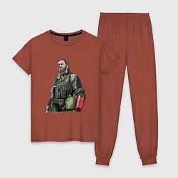 Пижама хлопковая женская Солид Снейк цвета кирпичный — фото 1