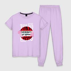 Пижама хлопковая женская Токио Япония цвета лаванда — фото 1