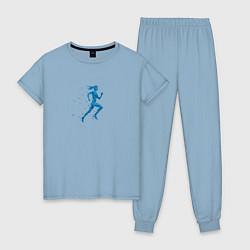 Пижама хлопковая женская Run Women цвета мягкое небо — фото 1