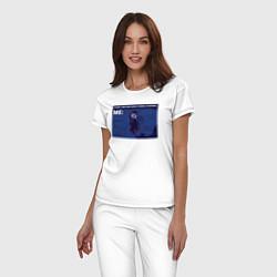 Пижама хлопковая женская Your crush is comming цвета белый — фото 2