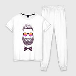 Пижама хлопковая женская Барбер цвета белый — фото 1