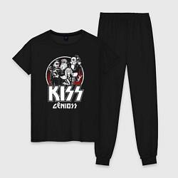 Пижама хлопковая женская KiSS Logo цвета черный — фото 1