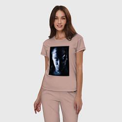 Пижама хлопковая женская Kristanna Loken цвета пыльно-розовый — фото 2