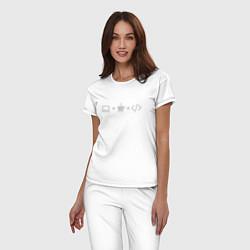 Пижама хлопковая женская Уравнение цвета белый — фото 2