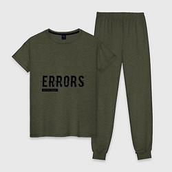 Пижама хлопковая женская Watch Dogs: Error цвета меланж-хаки — фото 1