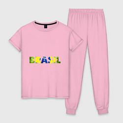 Пижама хлопковая женская BRASIL 2014 цвета светло-розовый — фото 1