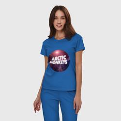 Пижама хлопковая женская Arctic Monkeys: space цвета синий — фото 2