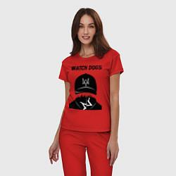 Пижама хлопковая женская You will be Hacker цвета красный — фото 2
