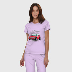 Пижама хлопковая женская Mini Cooper цвета лаванда — фото 2
