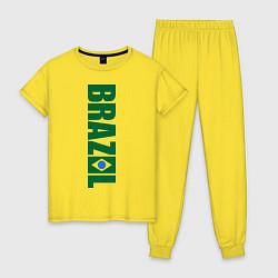 Пижама хлопковая женская Brazil Football цвета желтый — фото 1