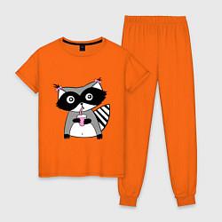 Пижама хлопковая женская Енот-девочка цвета оранжевый — фото 1