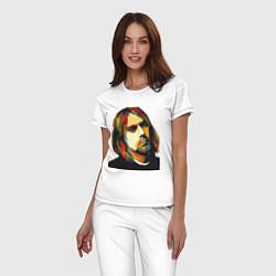 Пижама хлопковая женская Курт Кобейн: фан-арт цвета белый — фото 2