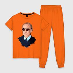 Пижама хлопковая женская Путин в очках цвета оранжевый — фото 1
