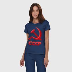 Пижама хлопковая женская СССР Логотип цвета тёмно-синий — фото 2