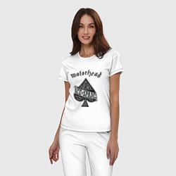 Пижама хлопковая женская Motorhead: Ace of spades цвета белый — фото 2