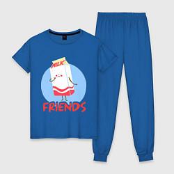 Пижама хлопковая женская Молоко цвета синий — фото 1