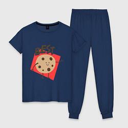 Пижама хлопковая женская Печенька цвета тёмно-синий — фото 1