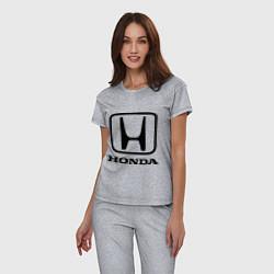 Пижама хлопковая женская Honda logo цвета меланж — фото 2