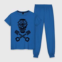 Пижама хлопковая женская Череп мотоциклиста цвета синий — фото 1