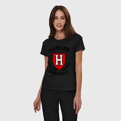 Пижама хлопковая женская Harvard University цвета черный — фото 2