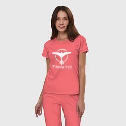 Пижама хлопковая женская Tiesto цвета коралловый — фото 2