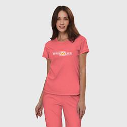Пижама хлопковая женская Big Brazzers цвета коралловый — фото 2