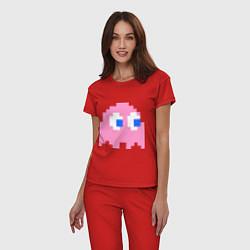 Пижама хлопковая женская Pac-Man: Pinky цвета красный — фото 2