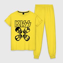 Пижама хлопковая женская Kiss Skulls цвета желтый — фото 1