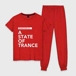 Пижама хлопковая женская Together in A State of Trance цвета красный — фото 1
