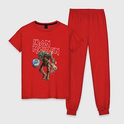 Пижама хлопковая женская Iron Maiden: Zombie цвета красный — фото 1