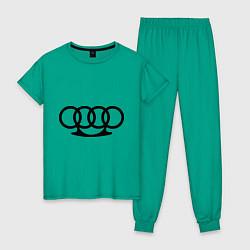 Пижама хлопковая женская Audi кастет цвета зеленый — фото 1