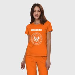 Пижама хлопковая женская Ramones цвета оранжевый — фото 2