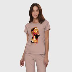 Пижама хлопковая женская LeBron Head цвета пыльно-розовый — фото 2