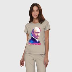 Пижама хлопковая женская Putin Surprise цвета миндальный — фото 2
