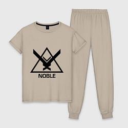 Пижама хлопковая женская Noble Halo цвета миндальный — фото 1