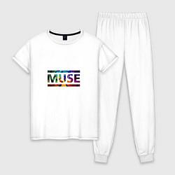Пижама хлопковая женская Muse Colour цвета белый — фото 1