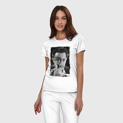 Пижама хлопковая женская Дали с лупой цвета белый — фото 2