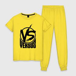 Пижама хлопковая женская Versus Battle цвета желтый — фото 1