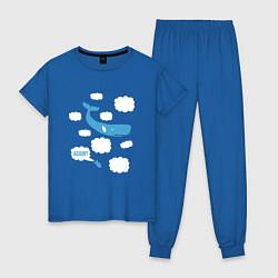 Пижама хлопковая женская Again? цвета синий — фото 1