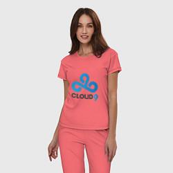 Пижама хлопковая женская Cloud9 цвета коралловый — фото 2