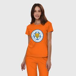 Пижама хлопковая женская Leicester City FC цвета оранжевый — фото 2