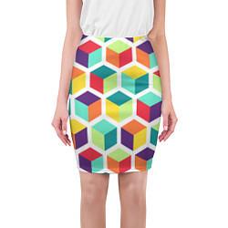 Юбка-карандаш женская 3D кубы цвета 3D — фото 1